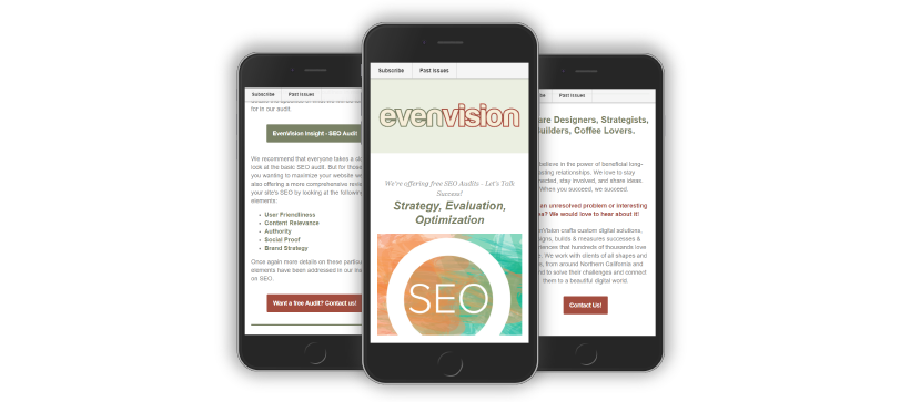 Example graphic of EvenVision's Mobile Friendly Newsletter