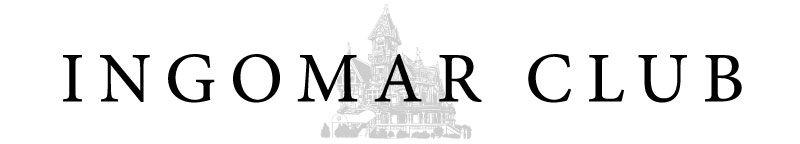 Image of the Ingomar Club's Logo with the Carson Mansion Watermark