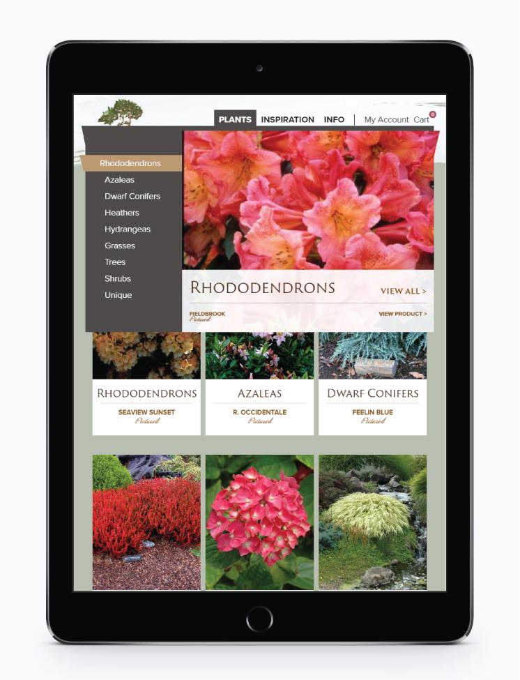 Image Displaying Screening Tree Garden's rich menu on an ipad